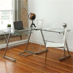 Walker Edison L-Shape Glass Top Computer Desk in Silver