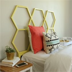 Walker Edison Honeycomb Headboard in Yellow