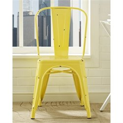Walker Edison Metal Cafe Chair in Antique Yellow
