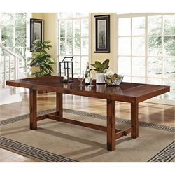 Walker Edison Drop Leaf Trestle Wood Dining Table in Dark Oak