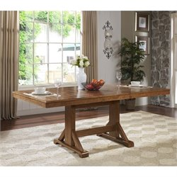 Walker Edison Extendable Trestle Wood Dining Table in Antique Brown