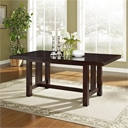 Extendable Trestle Wood Dining Table in Cappuccino