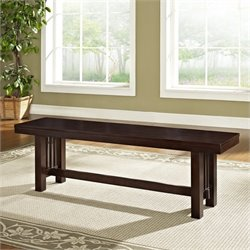 Walker Edison Wood Dining Bench in Cappuccino