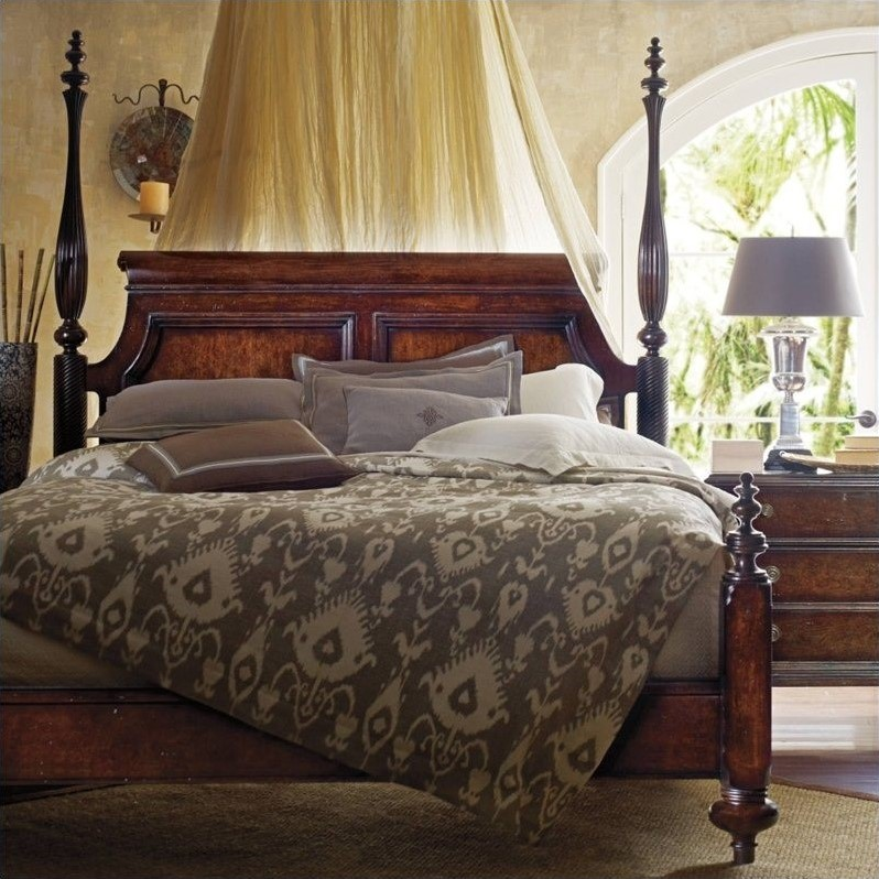 Stanley Furniture British Colonial Queen Poster Bed in Caribe