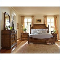 Stanley Furniture Arrondissement Reverie Panel Bed 4 Piece Bedroom Set in Heirloom Cherry