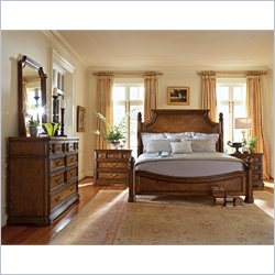 Stanley Furniture Arrondissement Reverie Panel Bed 5 Piece Bedroom Set in Heirloom Cherry