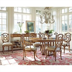 Stanley Furniture Arrondissement Tour Marais 7 Piece Dining Set in Sunlight Anigre