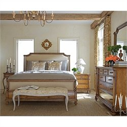 Stanley Furniture Arrondissement Palais Upholstered Bed 3 Piece Bedroom Set in Sunlight Anigre