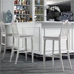 Stanley Furniture Charleston Regency Chippendale Bar Stool in Ropemakers White