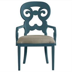 Stanley Furniture Coastal Living Retreat Wayfarer Arm Dining Chair in English Blue