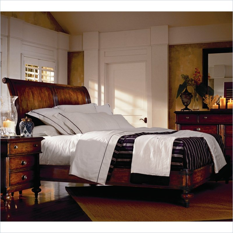 British Colonial Bedroom: British Colonial 4-Piece Sleigh Bedroom Set In Caribe