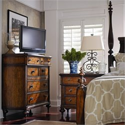 Stanley Furniture British Colonial 3-Piece Poster Bedroom Set in Caribe with Media Chest