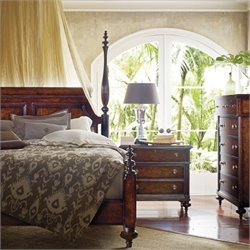Stanley Furniture British Colonial 3-Piece Poster Bedroom Set in Caribe with Drawer Chest