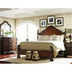 Stanley Furniture Continental 4-Piece Bedroom Set in Barrel with Mirror