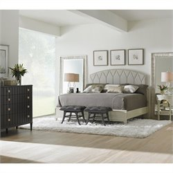 Stanley Furniture Crestaire 6-Piece Upholstered Bedroom Set in Capiz and Flint with 2 Floor Mirrors