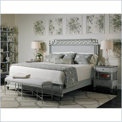 Stanley Furniture Preserve 4-Piece Upholstered Bedroom Set in Lamb's Ear with Silver Leaf Bench