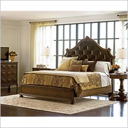 Stanley Furniture Villa Fiora 4-Piece Upholstered Bedroom Set in Toasted Pecan with Mirror