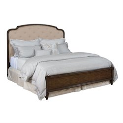 American Drew Grantham Hall Queen Upholstered Panel Bed in Coffee