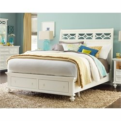 American Drew Lynn Haven Queen Sleigh Bed with Storage in White