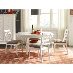 American Drew Lynn Haven 5 Piece Adjustable Dining Set in White