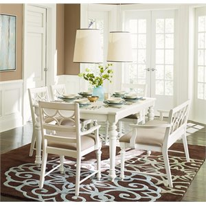 American Drew Lynn Haven 6 Piece Extendable Dining Set in White