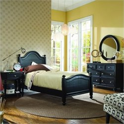 American Drew Camden Black Panel Bedroom Set with 2 Nightstands