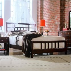 American Drew Tribecca Modern Wood Slat Bed 5 Piece Bedroom Set in Root Beer Finish