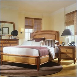American Drew Antigua Low Profile Wood Panel Bed 3 Piece Bedroom Set in Toasted Almond