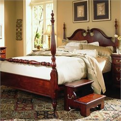 American Drew Cherry Grove Low Poster Bed and 2 Nightstands Bedroom Set