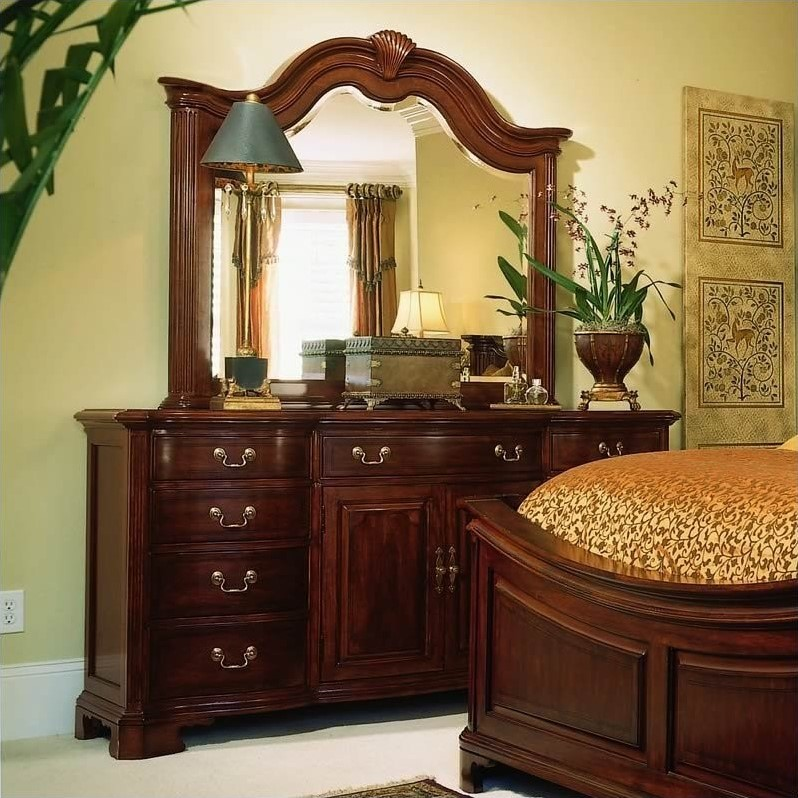 american drew cherry grove mansion wood panel bed 5 piece