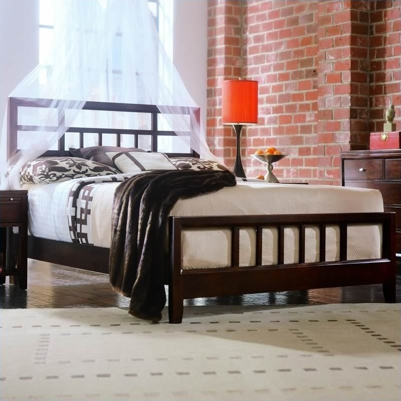 Tribecca Modern Wood Slat Bed 3 Piece Bedroom Set in Root Beer Finish