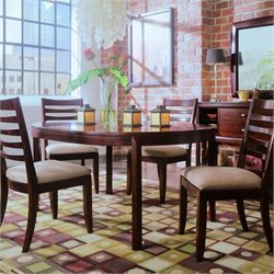 American Drew Tribecca 5 Piece Round Casual Dining Set in Dark Root Beer