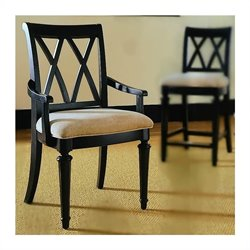 American Drew Camden Black Splat Fabric Formal Arm Dining Chair in Black Finish
