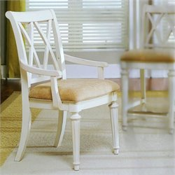 American Drew Camden Splat Back Fabric Casual Dining Arm Chair in Buttermilk