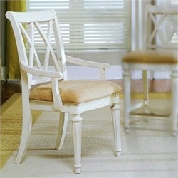 American Drew Camden Splat Back Fabric Casual Arm Dining Chair in Buttermilk