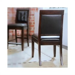 American Drew Tribecca Upholstered Leather Casual  Dining Chair in Root Beer Finish