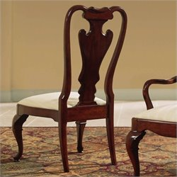 American Drew Splat Back Fabric Formal Side Chair in Antique Cherry Finish