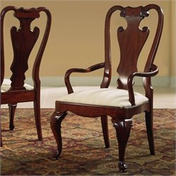 American Drew Cherry Grove Splat Back Fabric Formal Arm Chair in Classic Antique Cherry
