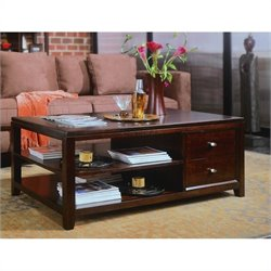 American Drew Tribecca Wood Top Rectangle Coffee Table in Dark Root Beer Finish