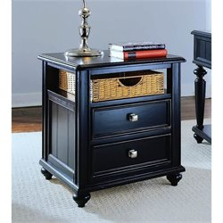 American Drew Camden Black Wood Storage End Table
