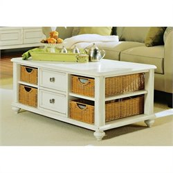 American Drew Camden Rectangular Coffee Table with Wicker Basket Storage in Buttermilk