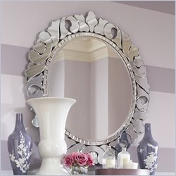 American Drew Jessica McClintock Couture Round Venetian Mirror with Supports