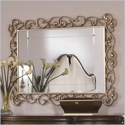 American Drew Jessica McClintock Couture Rectangle Accent Mirror in Silver Leaf