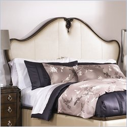 American Drew Jessica McClintock Couture Panel Leather Headboard in Ivory