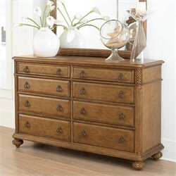 American Drew Grand Isle 8 Drawer Double Dresser in Amber Finish
