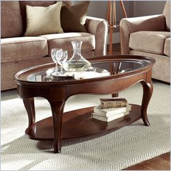 American Drew Cherry Grove Oval Cocktail Table in Mid Tone Brown