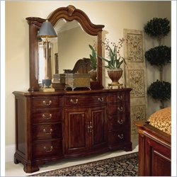 American Drew Bob Cherry Grove Landscape Mirror and Dresser Set