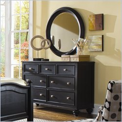 American Drew Camden Round Mirror and Dresser Set in Black