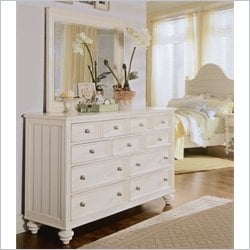 American Drew Camden Landscape Mirror and Dresser Set in Buttermilk