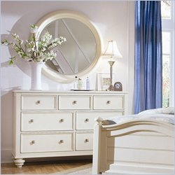 American Drew Camden Round Mirror and Dresser Set in Buttermilk